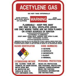 ACETYLENE Gas Warning Sign